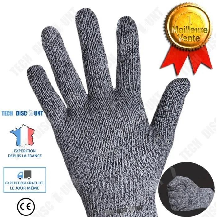 td gant anti coupure cuisine alimentaire boucherie gris fibre niveau 5 haute resistance couteaux ustensile accessoire ergonomique