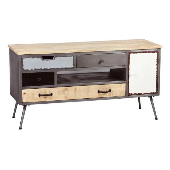 meuble tv 1 porte 4 tiroirs bois metal supply