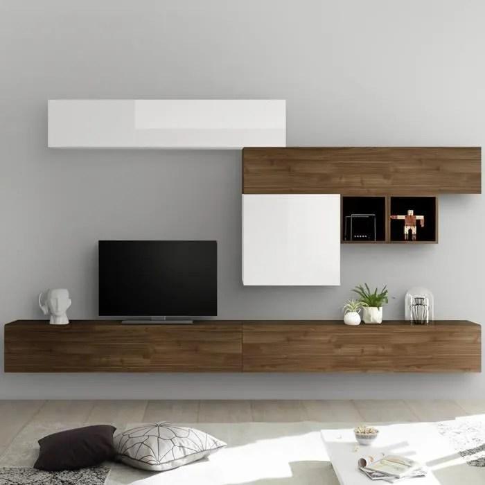 meuble tv suspendu blanc laque et couleur noyer ga
