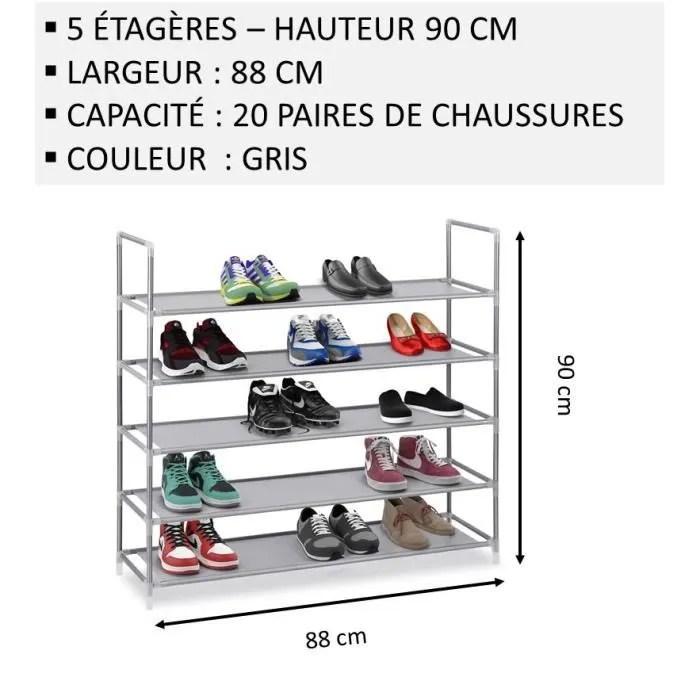 nalian etagere meuble a chaussures 5 etageres largeur 88cm gris