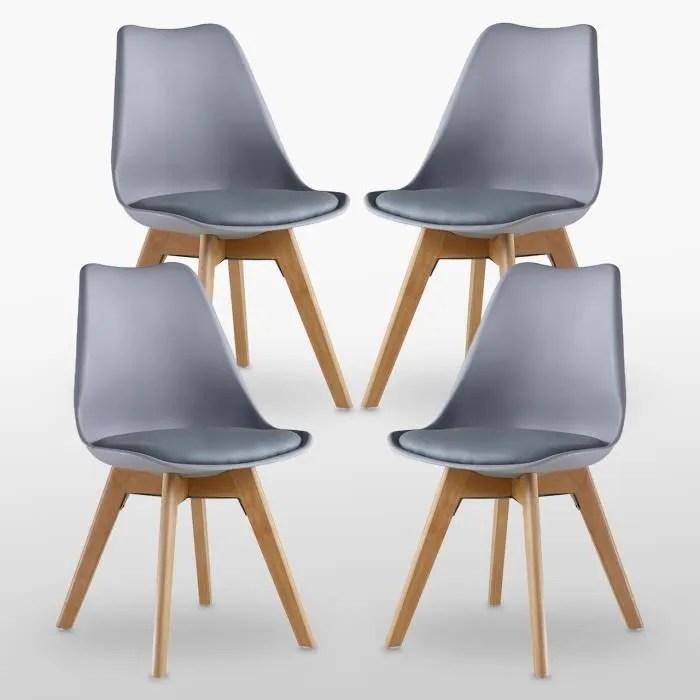 lot de 4 chaises lorenzo style scandinave grises