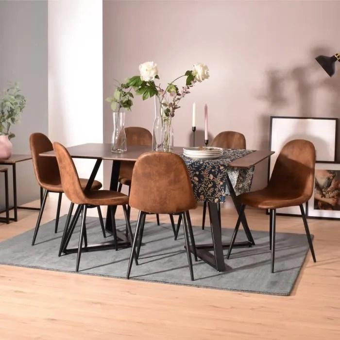 furnish1 ensemble table et 6 chaises de salle a manger style scandinave plateau en bois structure metal chaise avec tissu
