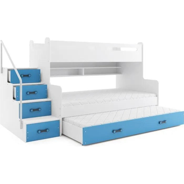 lit superpose max 3 pour 4 personnes 200x120 200x80 et dans le tiroir lit 190x80 avec matelas et sommiers blanc bleu