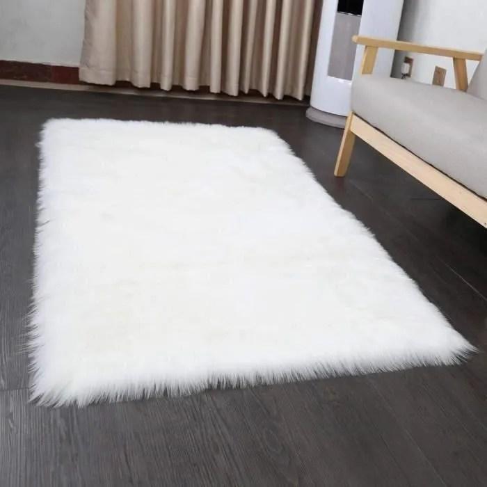 grand tapis rectangle blanc en peau de mouton imp
