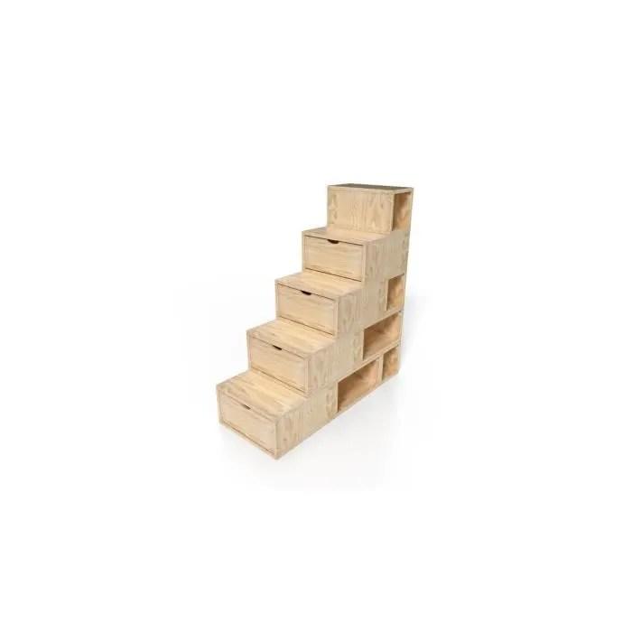 escalier cube de rangement hauteur 125 cm couleur brut