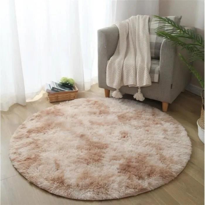 tapis de salon chambre rond shaggy beige diame