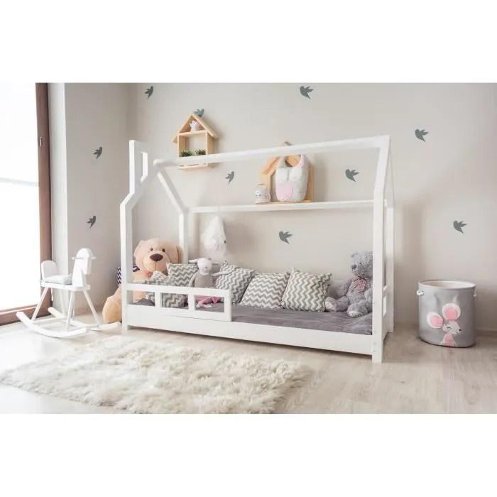 structure de lit enfant en bois massif cabane l 70 x 140 cm avec sommier couleur blanc