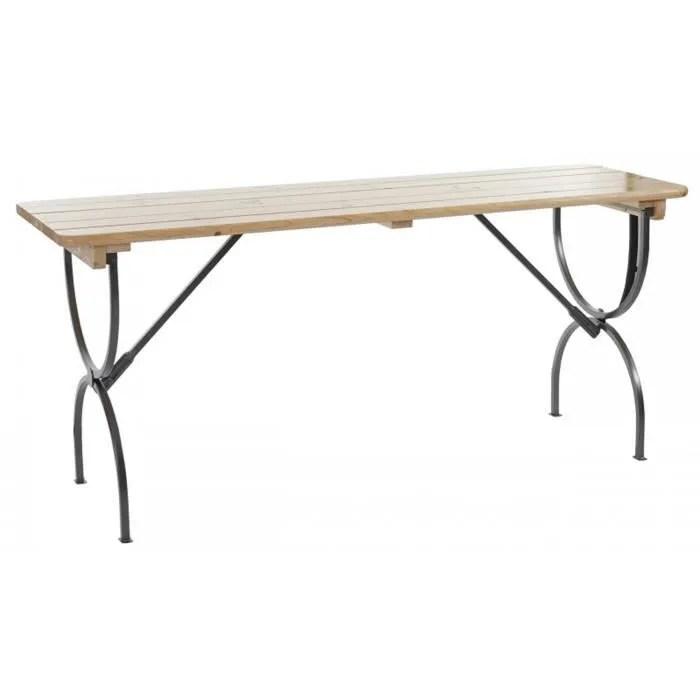 table de jardin en bois et metal coloris naturel