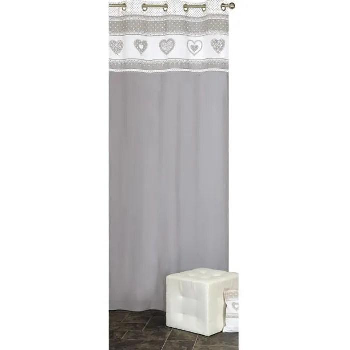 rideaux deco montagne coeurs gris 140 x 240 cm