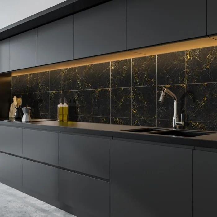 sticker carrelage cuisine salle de bains noir marb