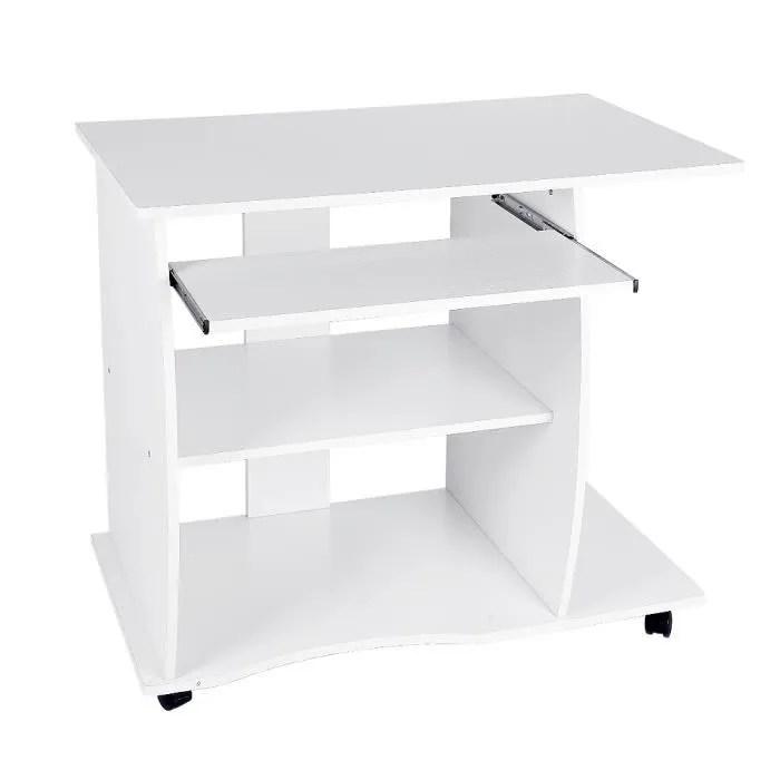 table d ordinateur meuble de bureau blanc bureau informatique a 4 roulettes 90x50x75cm tablette clavier