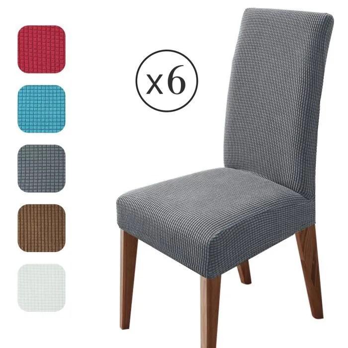 homeins lot de 6 housses de chaise housse extensible en peluche pour salle a manger gris fonce