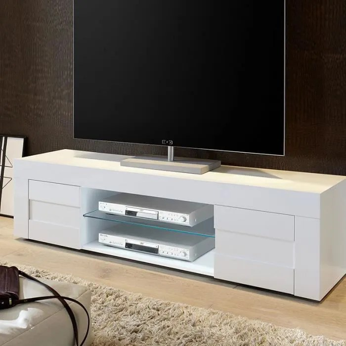 banc tv blanc laque brillant tunis 180 cm
