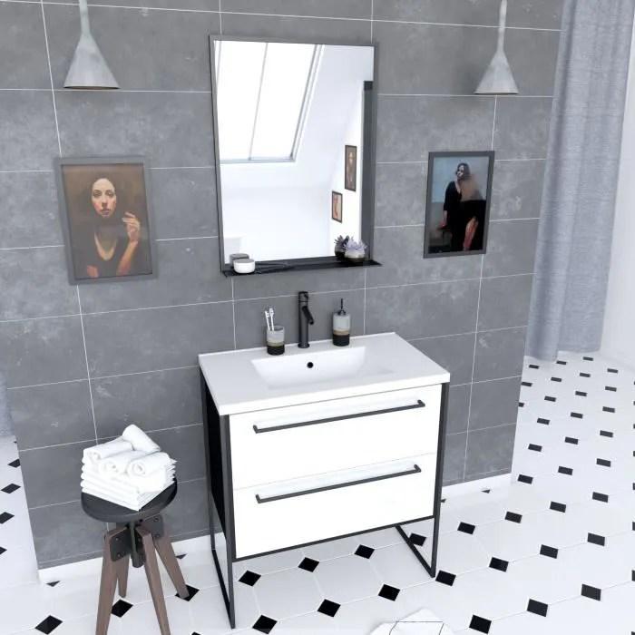 meuble de salle de bain noir avec vasque blanche