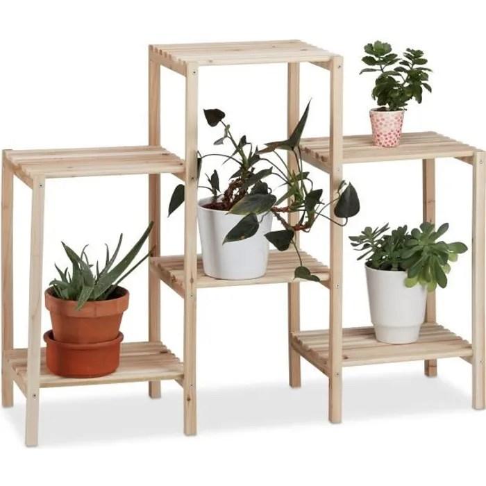 relaxdays etagere pour plantes en bois support pot de fleurs en escalier decoration 2 tailles nature 4052025949778