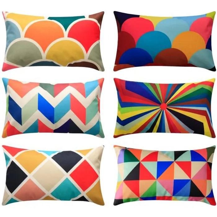 lot de 6 housses de coussin 30 x 50 cm multicolores geometrique coton et lin topfinel