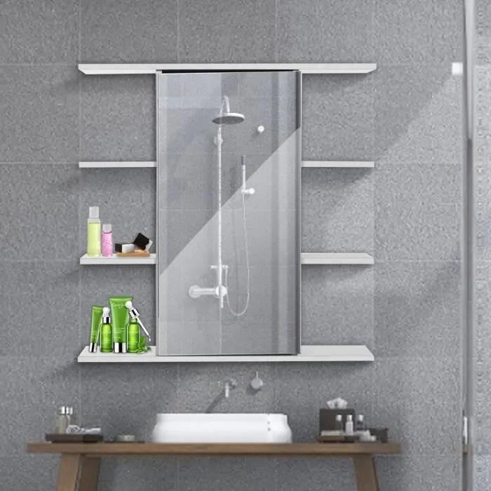insma meuble de salle de bain mural 60cm porte magnetique avec mirroir 9 espaces cabinet armoire de toilette rangement wc