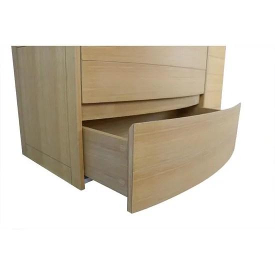 meuble salle de bain frene 80 cm avec vasque resine blanche tiga