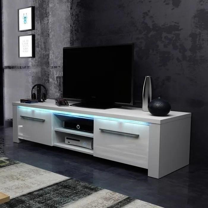 meuble tv meuble salon messa 140 cm blanc mat blanc brillant avec led bleue style moderne tres fonctionnel