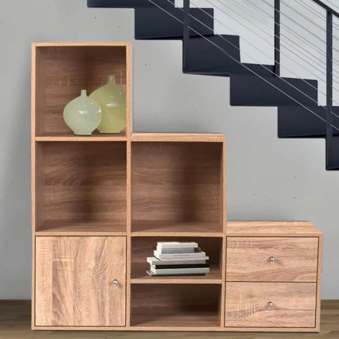 meuble de rangement escalier 3 niveaux bois facon hetre avec porte et tiroirs