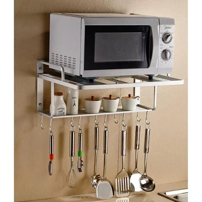 support cadre etagere mural un etage pour four a micro ondes cuisine en aluminium deux etages avec crochet