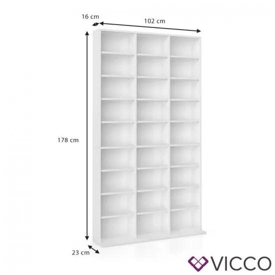 vicco cd dvd etagere etagere 102 x 180 x 15 cm lxhxp cm blanc bibliotheque