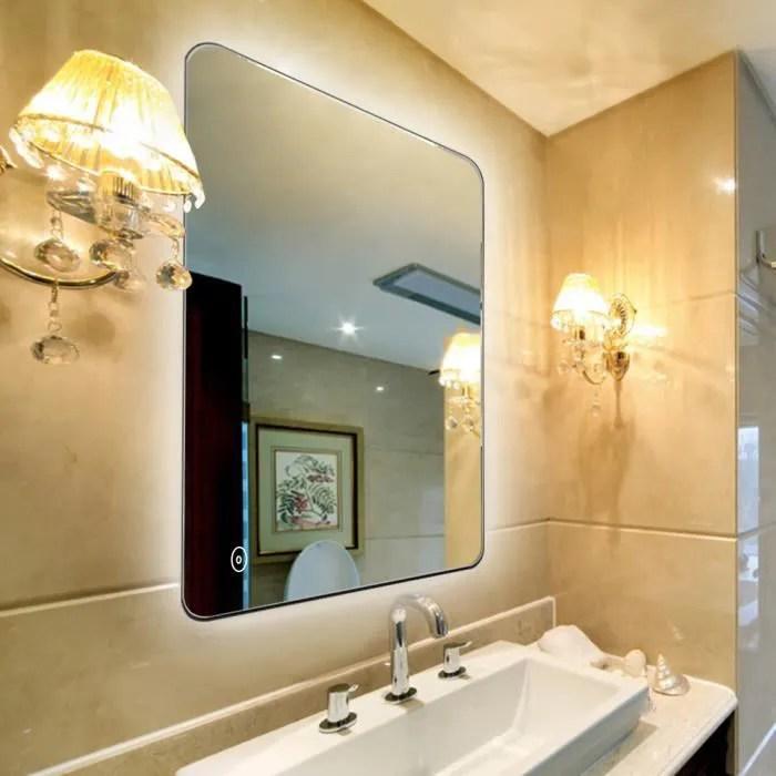 miroir salle de bain led angle rond miroir lampe