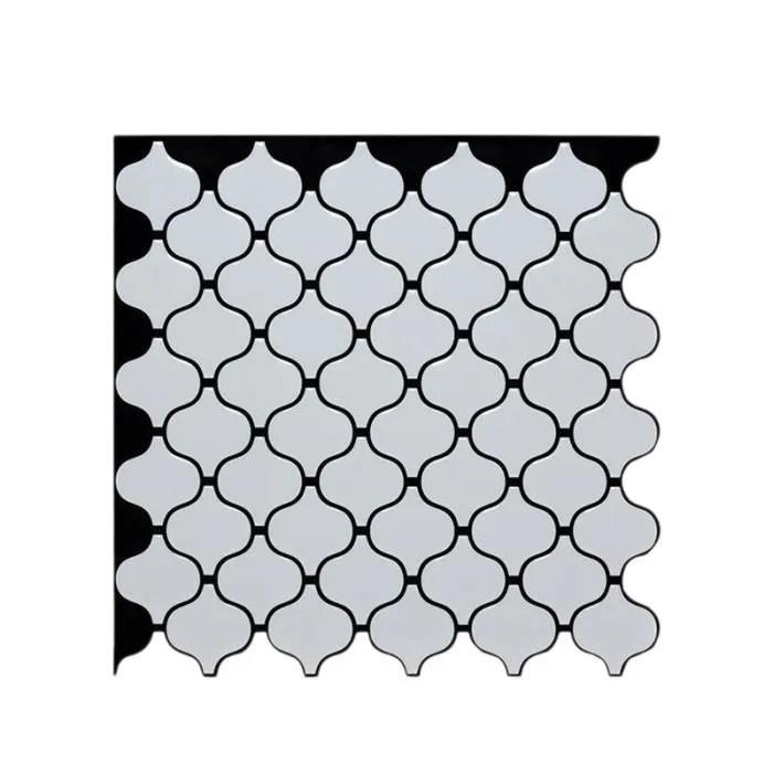 3d auto adhesif mosaique carrelage mural autocollant blanc arabesque style wall sticker decoration de cuisine a domicile