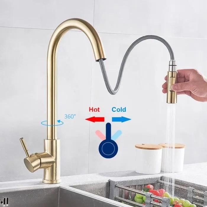 robinet d evier de cuisine en laiton brosse dore avec rotation a 360 degres sur le pont monte en laiton avec mitigeur et mitigeur