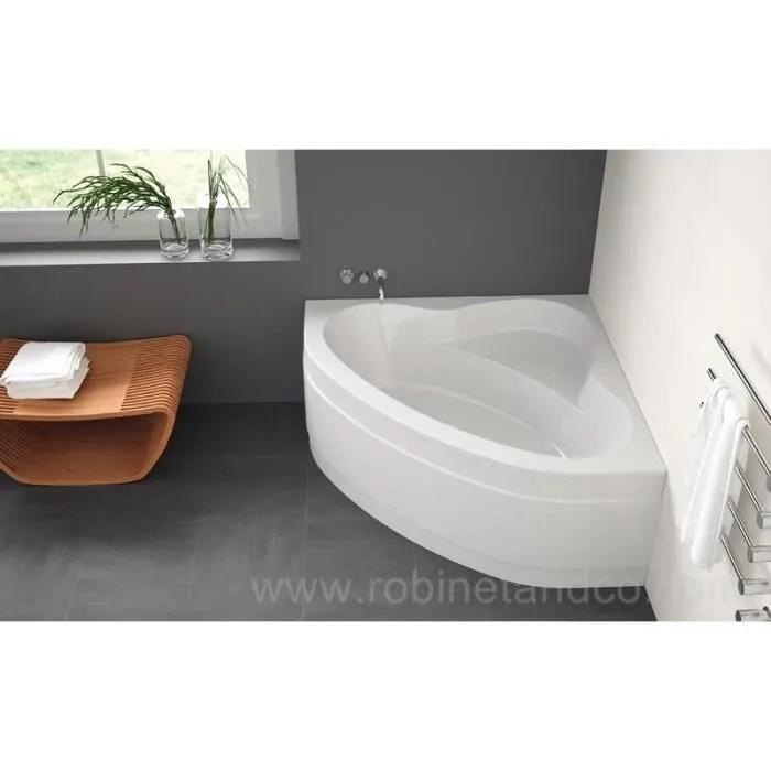 baignoire d angle 140x140cm sans tablier blanc
