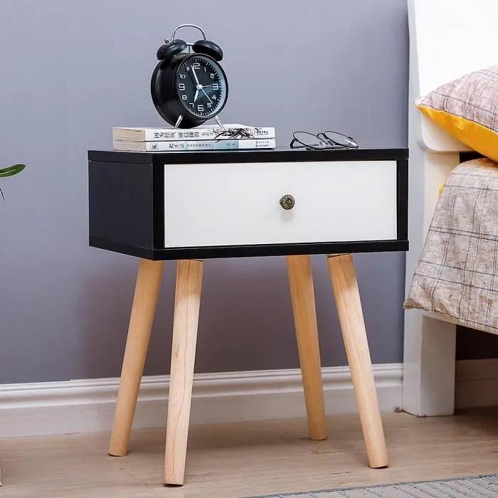 table de chevet style scandinave noir blanc laque satine simple nordique 40 30 50cm