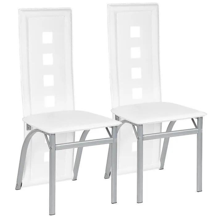 luxs lot de 2 chaises salle a manger blanc en si