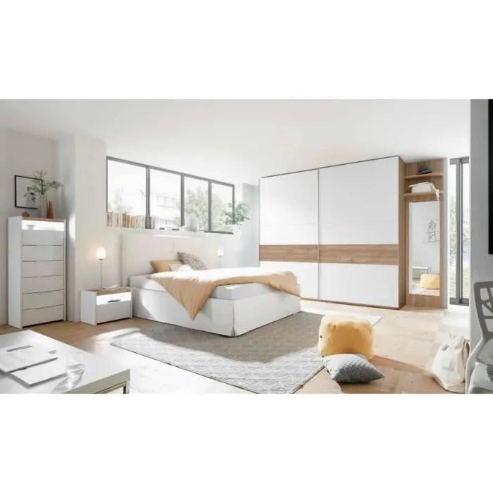 azurahome chambre complete amalti bicolore lit 160x200 cm avec coffre de rangement