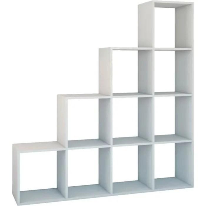 salerno etagere escalier contemporaine 10 niches casiers cubes 30x153x153 cm bibliotheque moderne meuble de rangement blanc
