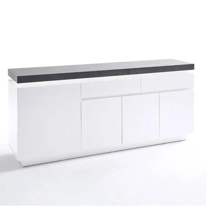 buffet atlantis laque blanc mat et beton 4 portes 2 tiroirs led blanc inclus blanc bois inside75