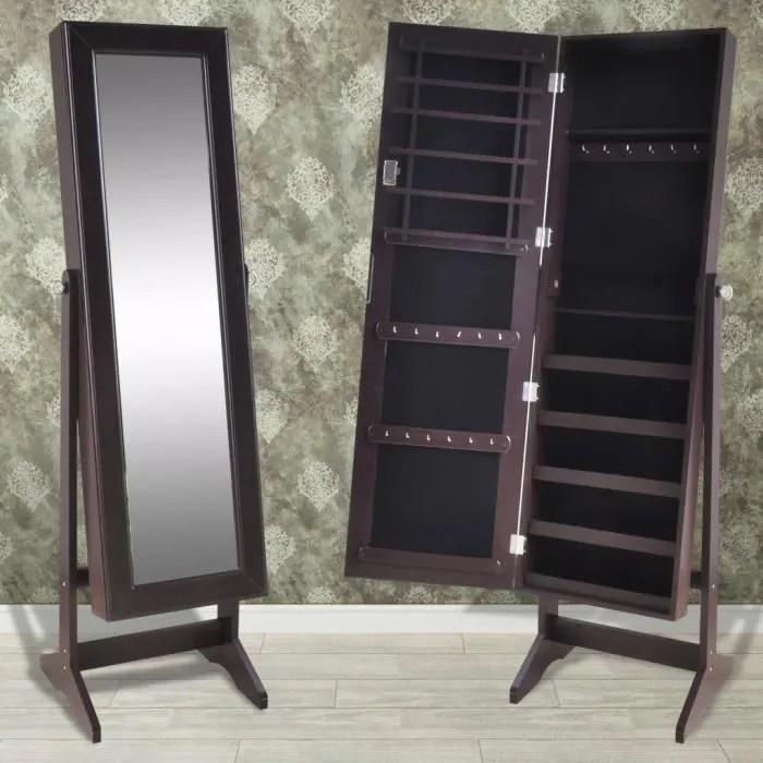 armoire a bijoux avec miroir brun