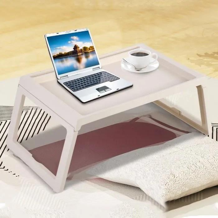 table d ordinateur sur lit plateau de service pliable portable beige