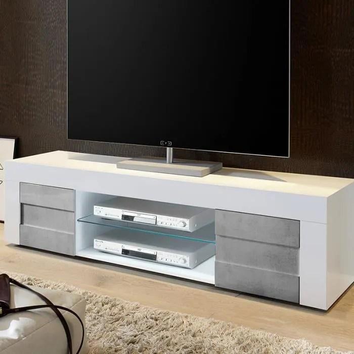 banc tv blanc laque et effet beton tunis 2 180 cm