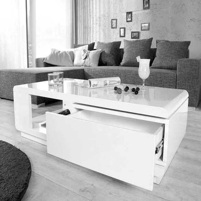 table basse blanche laque brillant avec rangement rectangulaire 120x60cm