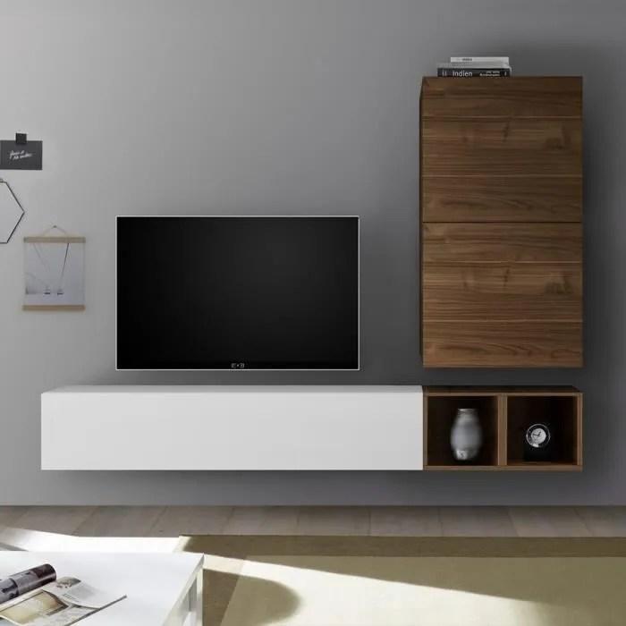 ensemble meuble tv blanc laque et couleur noyer so