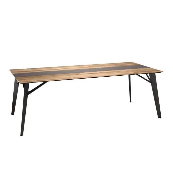 table a manger teck recycle metal et pieds metal marron l 220 x p 100 x h 76 cm