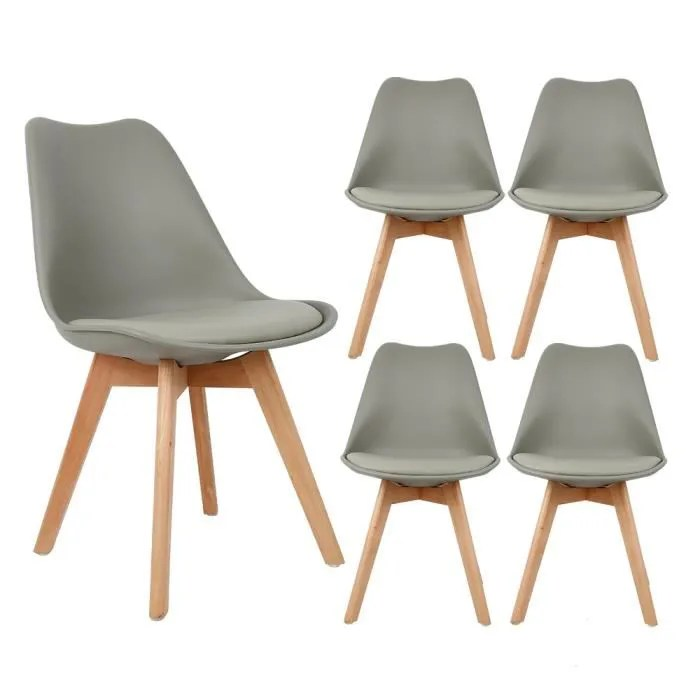 lot de 4 chaise scandinave de salle a manger gris design contemporain cuisine salon bureau