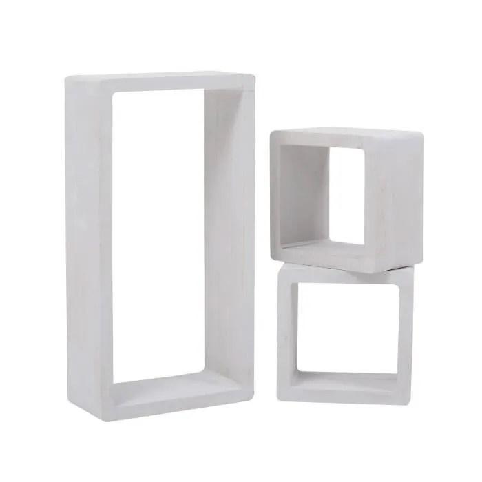 mobili rebecca lot etagere biblioteque 2 carre 1 rectangle bois blanc 39x20x10