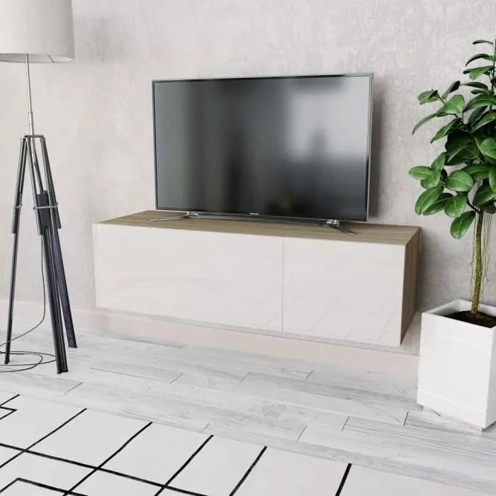 meuble tv suspendu en agglomere design moderne 120