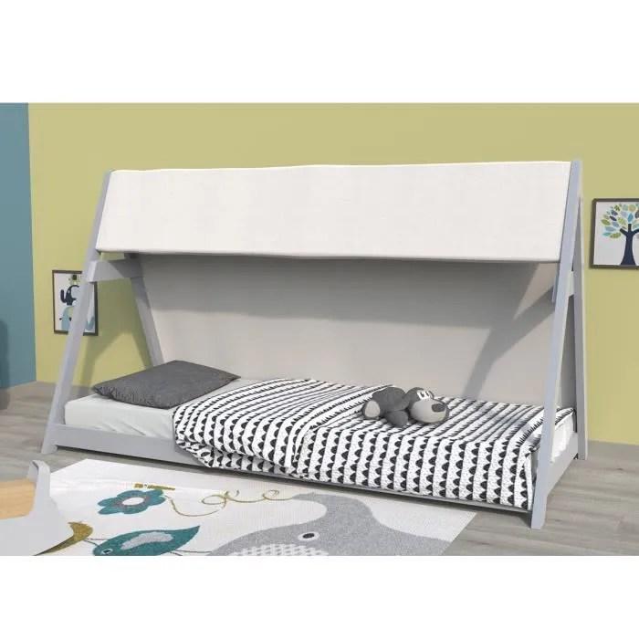 lit cabane tipi 90x200 cm avec sommier et toile gris