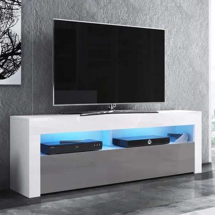 meuble tv blanc mat blanc brillant