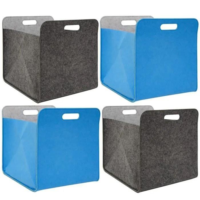 4 boites de rangement feutre 33x33x38 cm kallax panier etagere ikea gris bleu