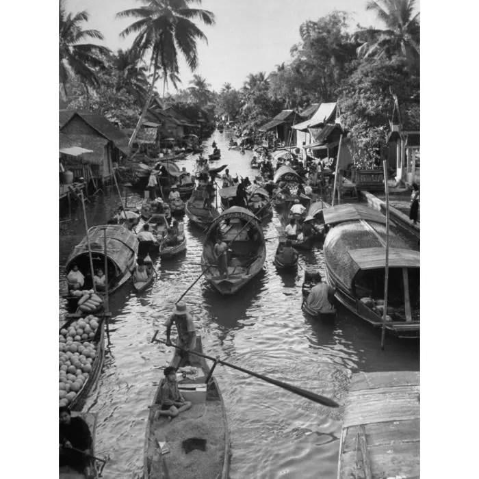 poster affiche bangkok 1950 photo ancienne canaux noir et blanc vintage 61cm x 81cm
