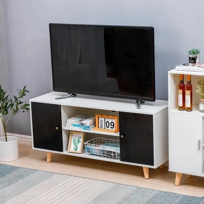meuble tele effie scandinave bois blanc et noir table basse table de salon pour chambre salon