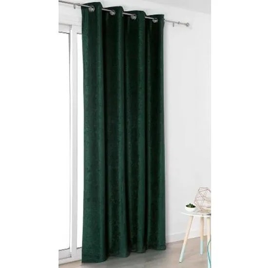 rideau aspect velours uni vert emeraude 140 x 245 cm